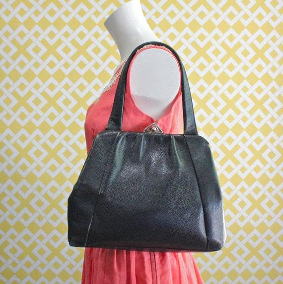 Mid Century Black Leather Handbag