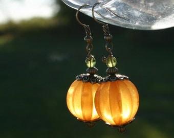 Pumpkin Thanksgiving Earrings, Fall, Harvest Jewelry