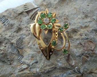 Convertible Green Rhinestone Brooch