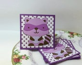 Mini Cards Childrens cards thank you cards - Raccoons Little Bandit (Set of 4 )