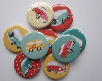 set of  9 1 inch or 1.25 inch pinback buttons, flatback buttons or hollowback buttons
