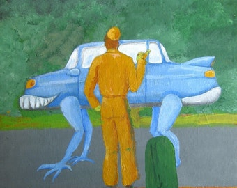 Thrift Store Painting with Added Monster - HITCHHIKER and CREEPY CAR, 16 by 20 Inches, Hitcher, Hitch Hiker