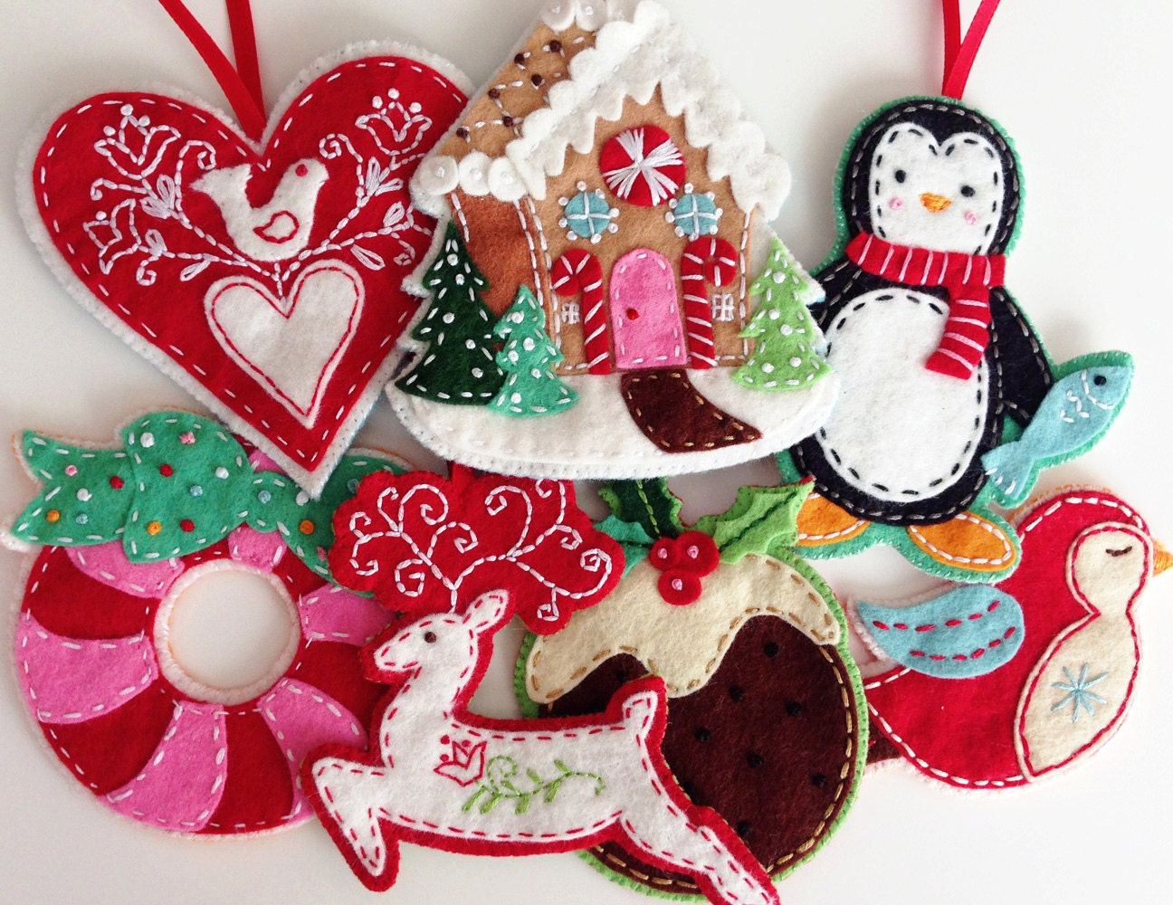 Christmas felt ornaments -  Nordic Felt Christmas Ornament Pattern Set Digital Download Zoom