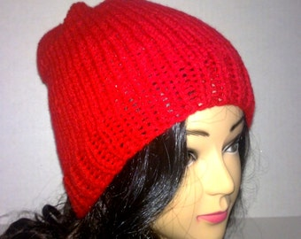 Red Knit Beanie, Mens Accessories, Womens Accessories, Winter Hat, Red Hat