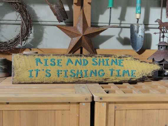 Fishing Sign Lake House Decor Country Cabin Primitive