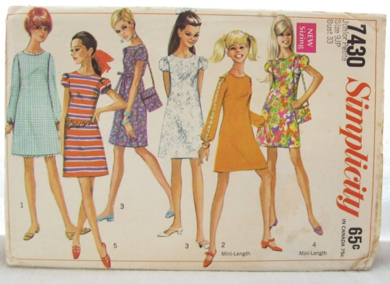 Simplicity 7430 1960s Mod Sheath or Shift Dress Vintage Sewing Pattern Bust 33