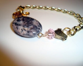 Fly Away, Fly Away Bracelet with Gemstone and Bow - One of a Kind Handmade Design - statement bracelet - Natural Agate Gemstone