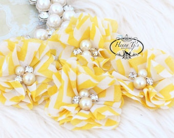 NEW: 4 pcs Aubrey YELLOW White Chevron Patterned - Soft Chiffon with pearls and rhinestones Layered Small Fabric Flowers, Hair accessories