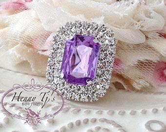 5 pcs - 30mm Lavender / Light Amethyst Silver Metal Crystal Rhinestone Buttons - wedding / hair / dress / garment accessories Flower Center