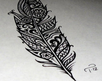 Custom Art Commissioned Henna Tribal Feather Drawing Tattoo Design