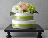 """20"""" Cake Stand Cupcake Square Black Rustic Wooden Wedding Black Grooms Cake Decor E. Isabella Designs Featured In Martha Stewart Weddings."""