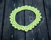 Detachable lace collar in lime green crochet vintage styled feminine fiber necklace accessory
