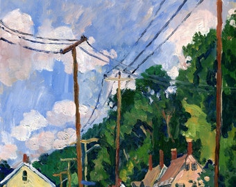 Houses and Poles, July. 9x12 Realist Oil Painting Landscape, Small Plein Air American Impressionist Oil on Panel, Signed Original Fine Art