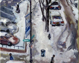 New York City, Big Snow. Realist Oil Painting on Canvas, 8x10 NYC Impressionist Plein Air Fine Art, Signed Original Winter Landscape