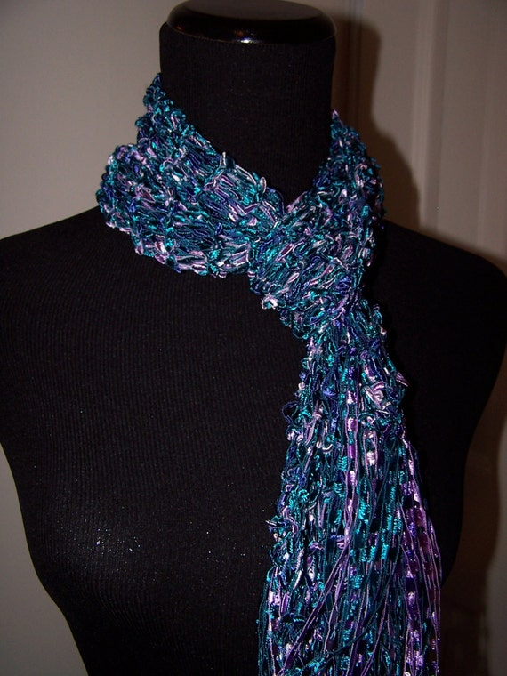 Ladder Yarn Knit Scarf in Turquoise and Purple by ...