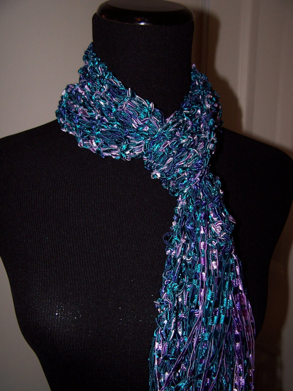 Ladder Yarn Knit Scarf in Turquoise and Purple by WeeCatCreations
