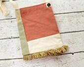 Upcycled Sling Purse, SALE Small Sling Bag, Upholstery, Clothing, Fringe, Rose Green
