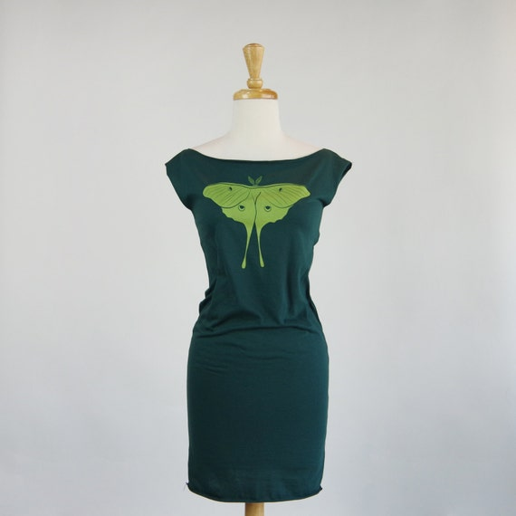 Luna Moth | Forest Green | Jersey Cotton Dress | Cap Sleeve Tunic | Jersey Knit | Above the Knee Length | Casual Green Dress