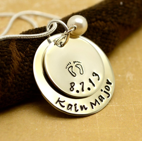 Baby Footprint Necklace, New Baby Necklace, Mother's Necklace, Personalized Jewelry, Custom, Mother's Jewelry, Mom Mommy, Gift for Her