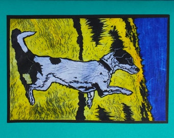 5 Jack Russell Terrier Notecards on Turquoise