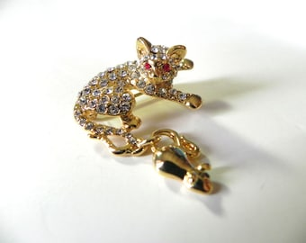 Vintage Cat with Mouse Encrusted Rhinestone Brooch - on sale