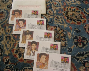 Elvis Presley Stamps, Complete Set First Day Issue Covers, Set of 5