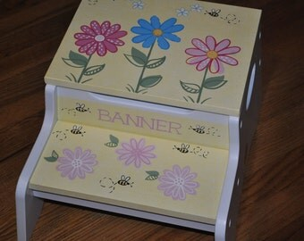 Kids Personalized 2 Step Stool and Storage Bench - Whimsical Bees In The Garden with Flowers