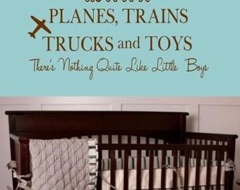 Boy Wall Decal Planes, Trains, Trucks and Toys Nursery Vinyl Wall Decal