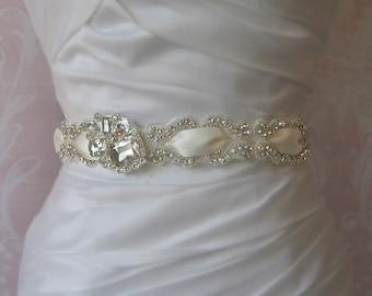 Sparkling Rhinestone Sash, Ivory Crystal Bridal Sash, Wedding Belt - CHANDELLE