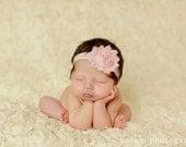 Light Pink Shabby Flower Headband Infant Flower  Headband Newborn Flower Headband  Shabby Chic Flower Headband  Photo Prop Baby Shower