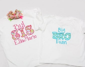 Big Sister Shirt and Little Brother Shirt with Matching Hairbow