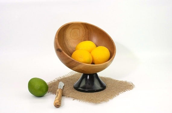 Wooden Cherry Pedestal Bowl / Candy Dish / Fruit Bowl