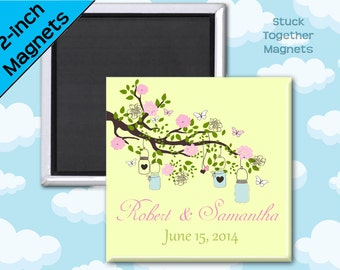 Summer Wedding Favor Magnets - Pink and Green with Mason Jars - 2 Inch Squares - Set of 10 Magnets