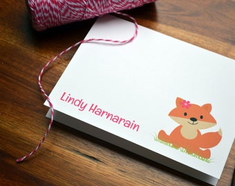 Fox Personalized Stationery / Personalized Stationary / Personalized Note Cards / Stationery Set - Foxy Lady Design