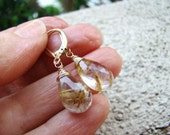 Golden Rutilated Quartz Earrings - Sterling Silver Gold fill Rose Gold Tarnished Silver