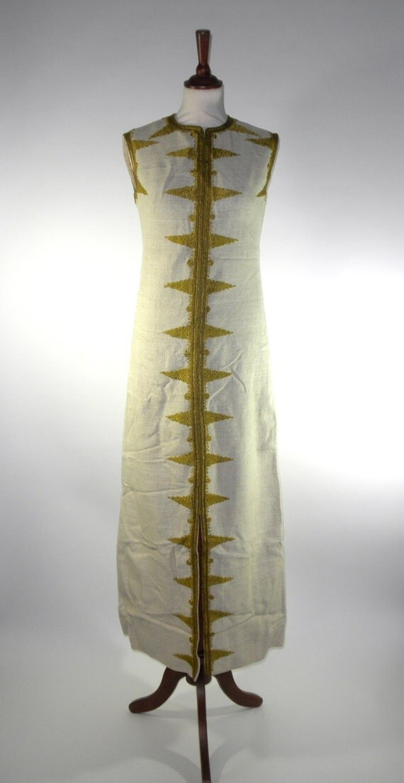 Art Deco Sleeveless Canvas Dress with Gold Mystique
