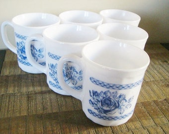 "Set of Six Vintage Arcopal Blue and White ""Honorine"" Mugs"
