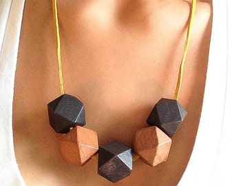 SALE Geometric necklace wooden boho necklace modern statement necklace extraordinary necklace unique wood necklace