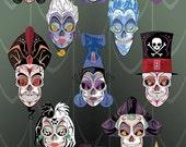 13 Disney Villains Sugar Skull Print 11x17 print