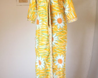 HAWAIIAN Vintage 60's Dress, Sheath, Maxi Dress, Yellow, Orange, Aqua and White, TIKI Oasis Size Small to Medium