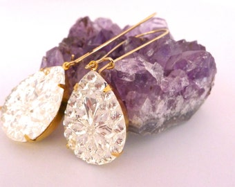 Frozen Teardrop Earrings, Vintage Crystal White Glass in Gold Settings, Dangle Style