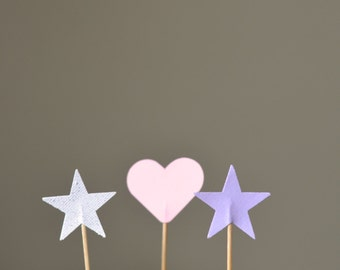 Hearts and Stars Princess Cupcake Picks, pink, purple and silver sparkle with custom colors available