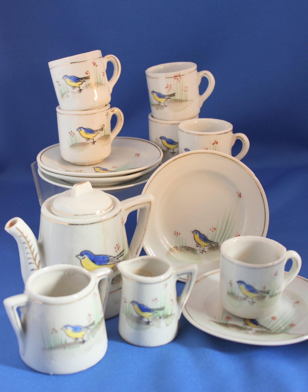 Toy Tea Set : Blue bird childs tea set toy dishes made japan