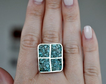 Vintage Silver Turquoise Inlay Ring