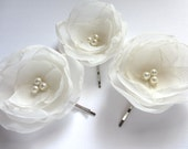 Ivory Hair Flowers Wedding Hair Accessories Ivory Bridal Hair Pins Ivory Flower Weddings