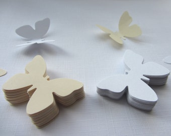 Paper butterflies 100 die cut butterflies, die cuts, wedding decorations, scrapbooking, weddings, white ivory butterflies