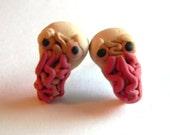 Alien Post Stud Earrings - Fandom Geekery Jewelry Accessories - Handmade with Polymer Clay - Gifts Under 15, 20, 25