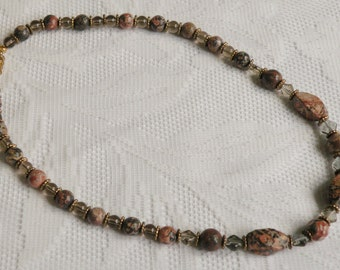 Leopardskin Jasper and Smoky Glass Necklace