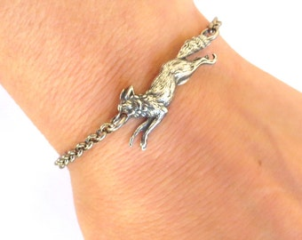 Steampunk Small Fox Bracelet- Sterling Silver Ox Finish- Small Fox