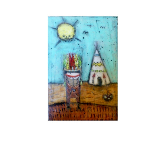 Reserved for Angela Indian summer Beeswax wall decor feather teepee painting prime colors